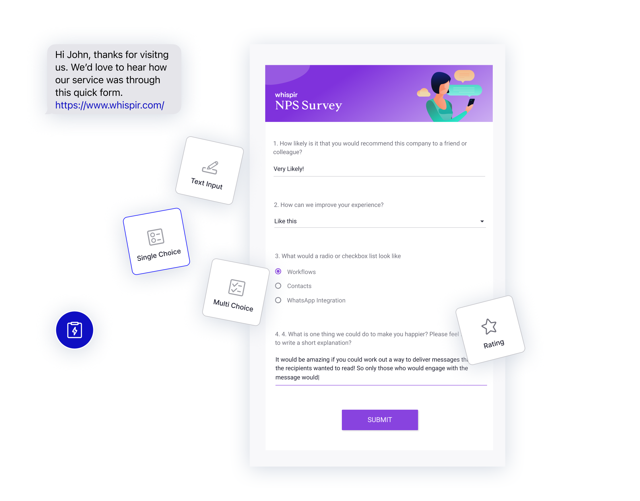 Elevate messages with web pages